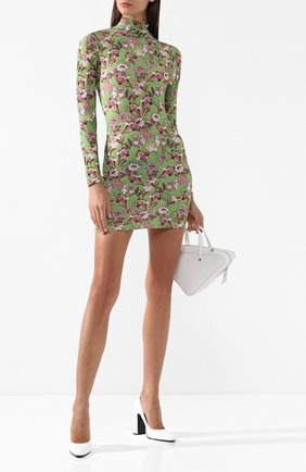 Мини-платье с принтом и воротником-стойкой Vetements зеленое | Фото №2