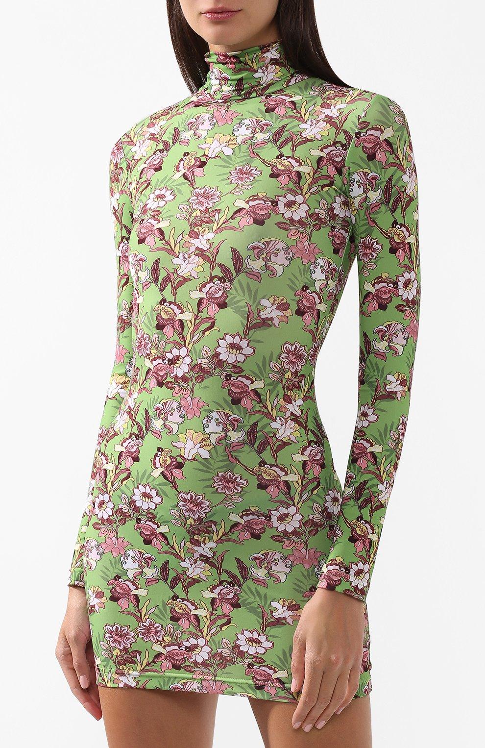 Мини-платье с принтом и воротником-стойкой Vetements зеленое | Фото №3