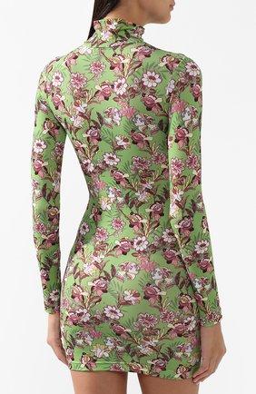 Мини-платье с принтом и воротником-стойкой Vetements зеленое | Фото №4