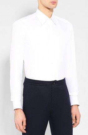 Мужская хлопковая сорочка с воротником кент ZILLI белого цвета, арт. MFQ-MERCU-04211/RZ01 | Фото 3