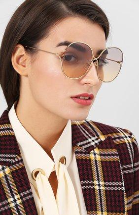 Женские солнцезащитные очки GUCCI золотого цвета, арт. GG0362 003 | Фото 2