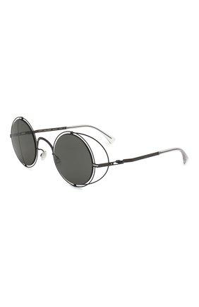Мужские солнцезащитные очки MAISON MARGIELA черного цвета, арт. MMCRAFT 001/BLACK/DARKGREY | Фото 1 (Статус проверки: Проверена категория, Требуются правки; Тип очков: С/з; Оптика Гендер: оптика-унисекс; Очки форма: Круглые)