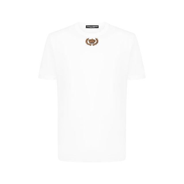 Хлопковая футболка с вышивкой Dolce & Gabbana
