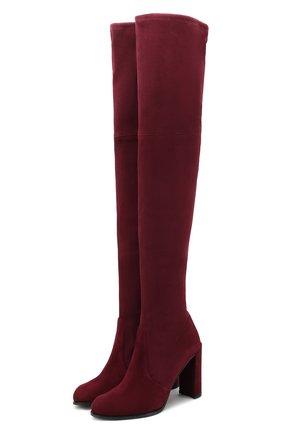 Замшевые ботфорты Hiline на устойчивом каблуке | Фото №1