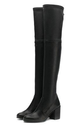 Кожаные ботфорты Tieland на устойчивом каблуке | Фото №1
