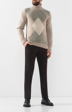 Мужской кашемировый свитер с воротником-стойкой LORO PIANA бежевого цвета, арт. FAI3101 | Фото 2