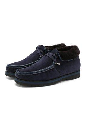 Замшевые ботинки с внутренней меховой отделкой   Фото №1