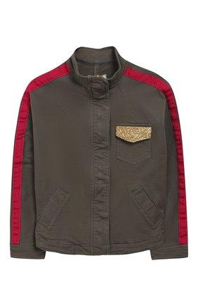 Хлопковая куртка с воротником-стойкой   Фото №1