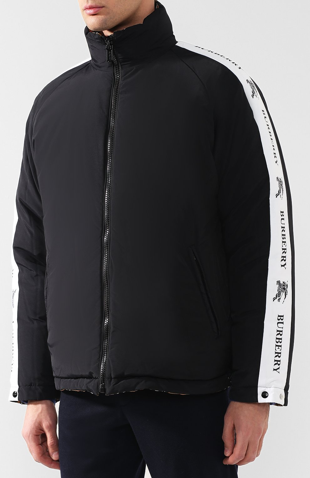Мужская бежевого двусторонняя пуховая куртка в клетку vintage check ... f52e612dbe6