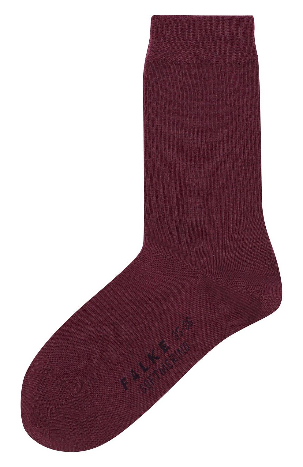 Женские носки softmerino из смеси шерсти и хлопка FALKE бордового цвета, арт. 47488_18_   Фото 1