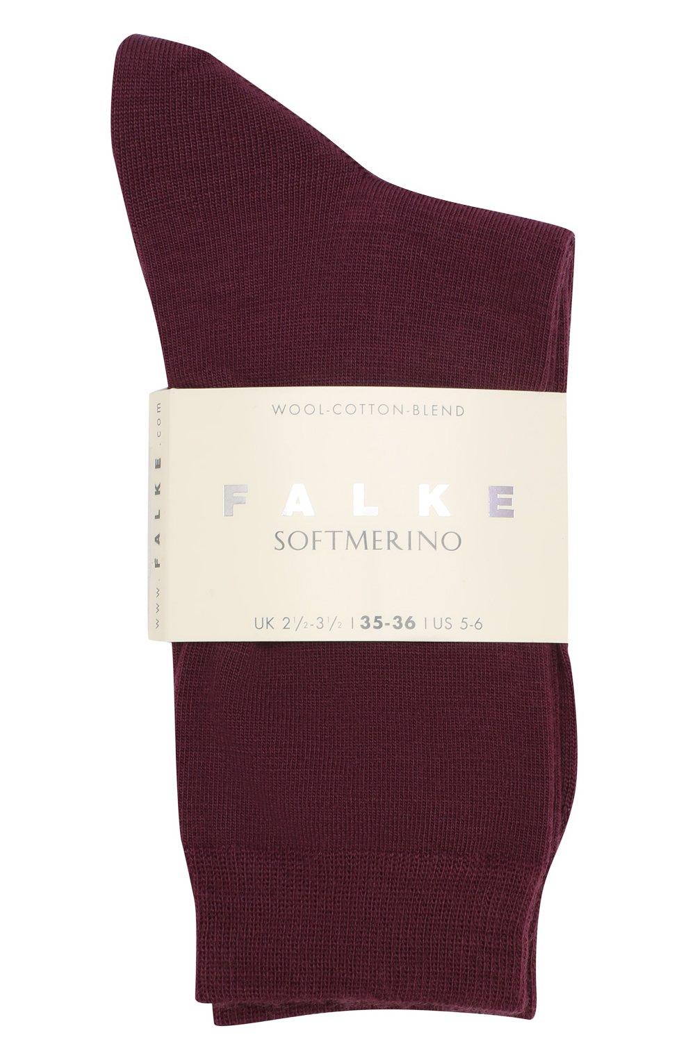 Женские носки softmerino из смеси шерсти и хлопка FALKE бордового цвета, арт. 47488_18_   Фото 2