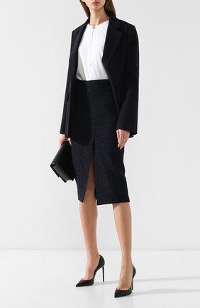 Шерстяная юбка с высоким разрезом | Фото №2