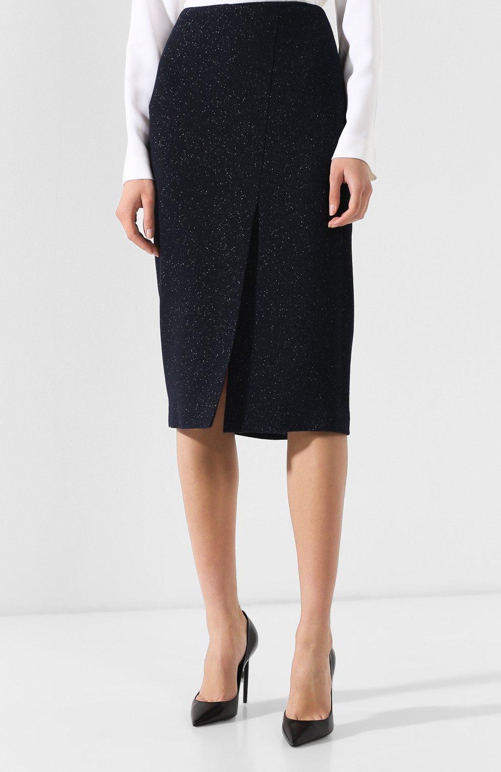 Шерстяная юбка с высоким разрезом | Фото №3