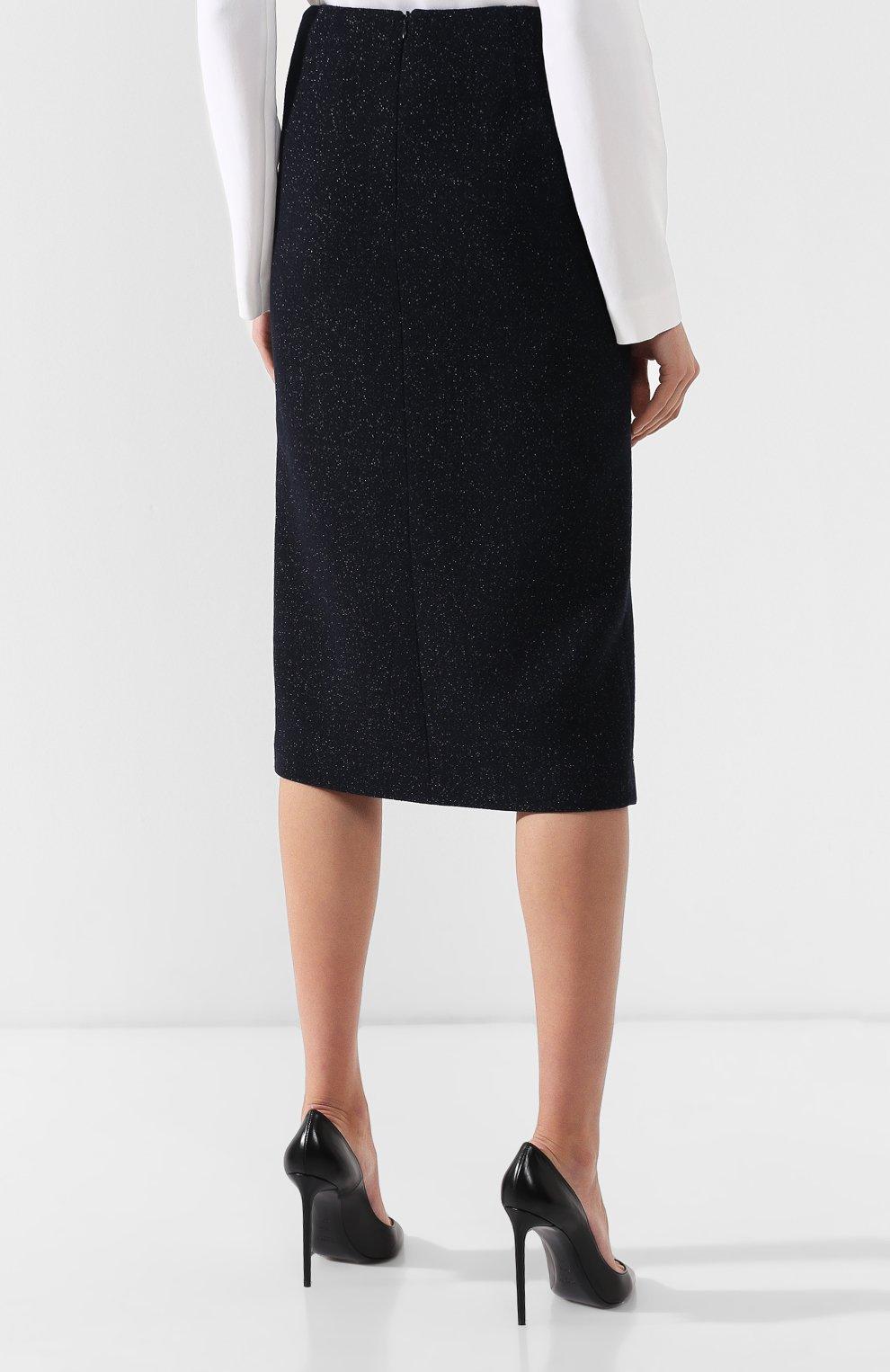 Шерстяная юбка с высоким разрезом | Фото №4
