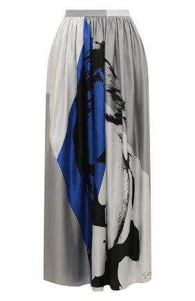 Шелковая юбка-миди с принтом | Фото №1