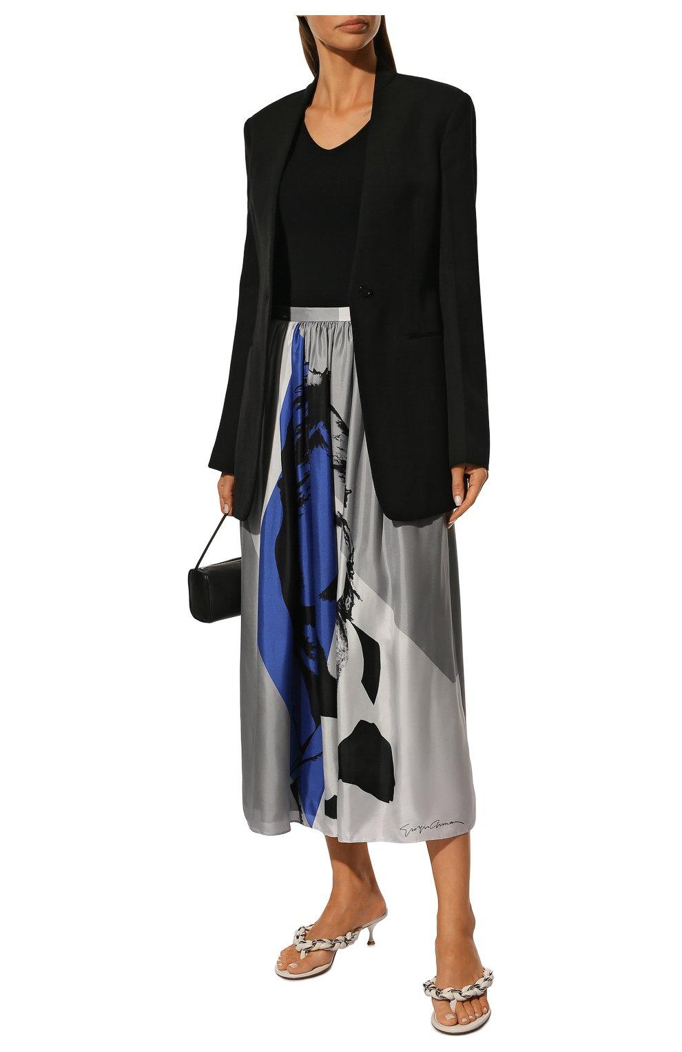 Шелковая юбка-миди с принтом | Фото №2