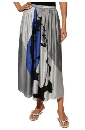 Шелковая юбка-миди с принтом | Фото №3