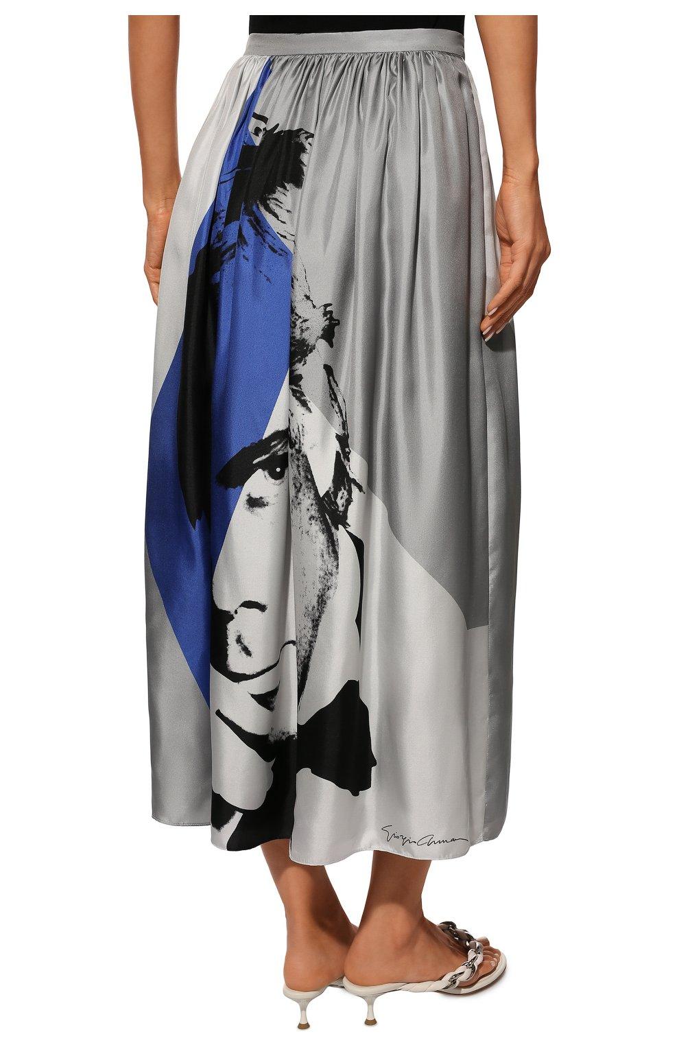 Шелковая юбка-миди с принтом | Фото №4