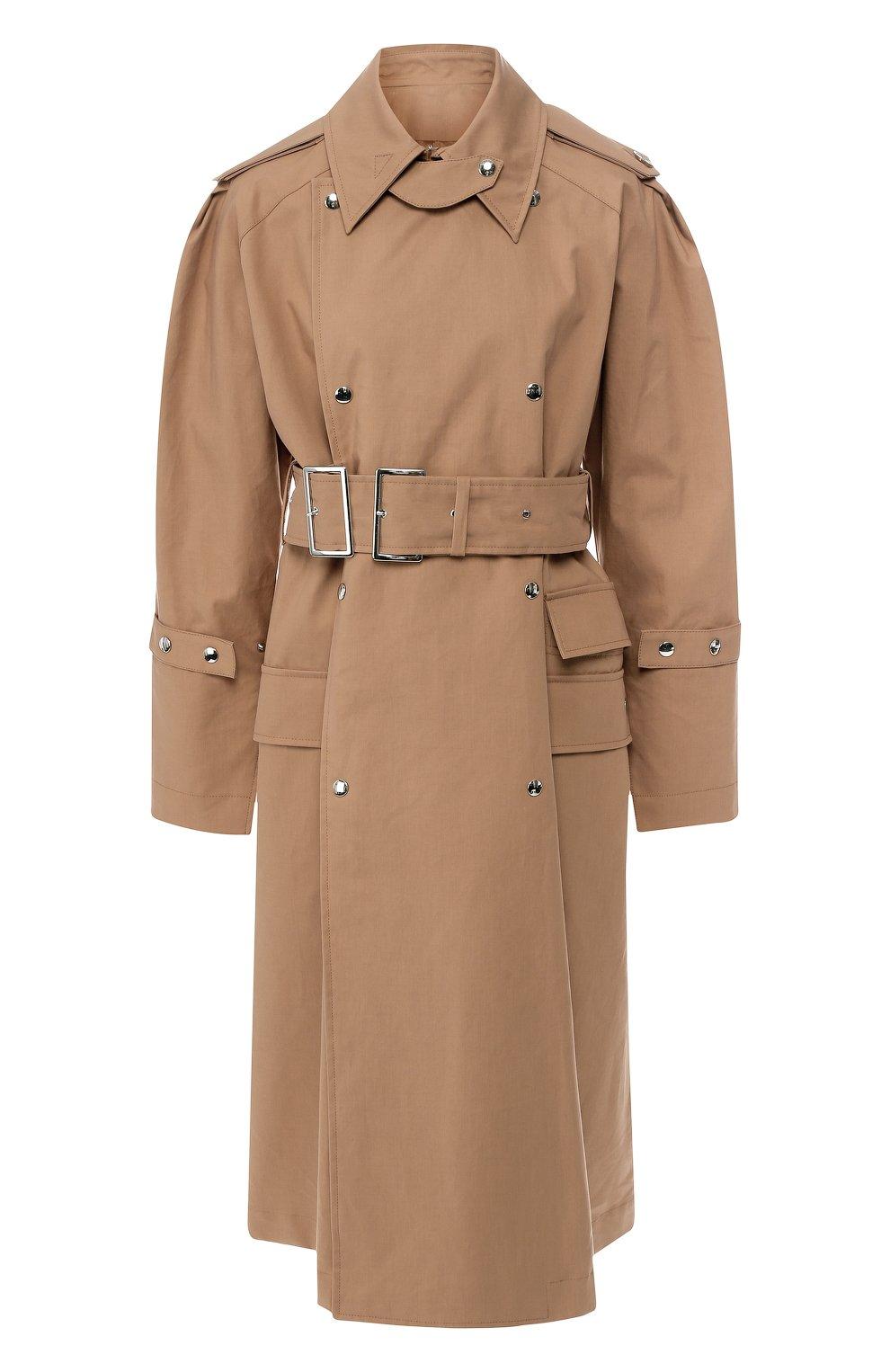 Хлопковое пальто с поясом | Фото №1