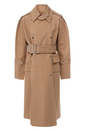 Хлопковое пальто с поясом Acne Studios коричневого цвета | Фото №1
