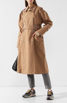 Хлопковое пальто с поясом Acne Studios коричневого цвета | Фото №2