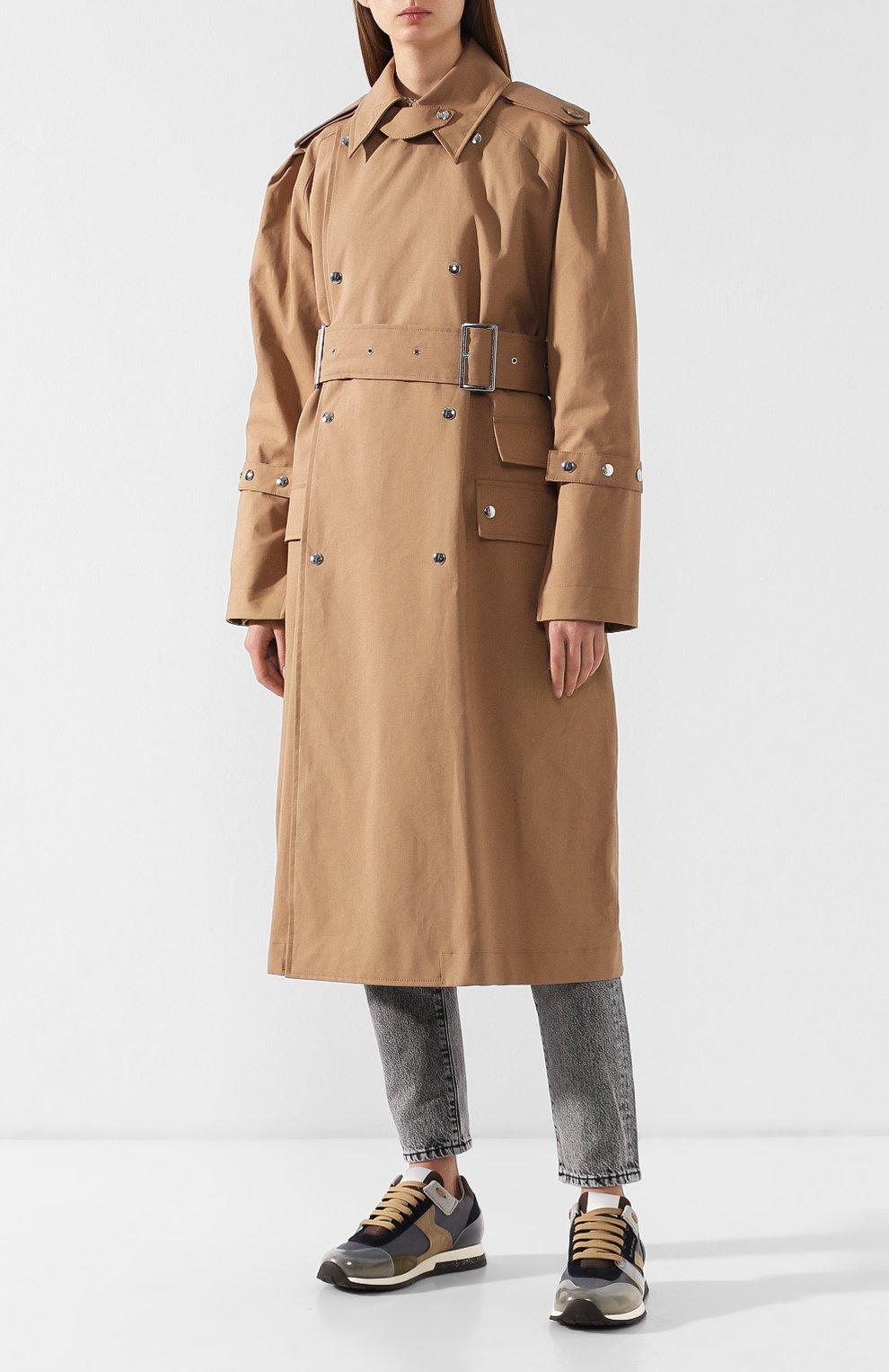 Хлопковое пальто с поясом Acne Studios коричневого цвета | Фото №3