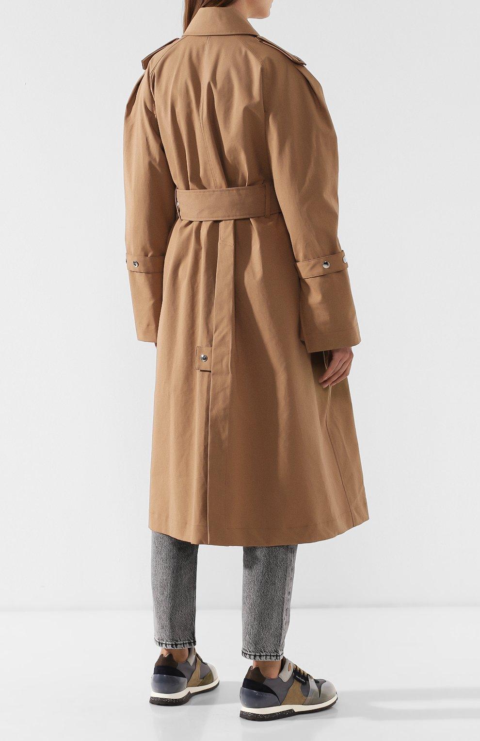 Хлопковое пальто с поясом Acne Studios коричневого цвета | Фото №4