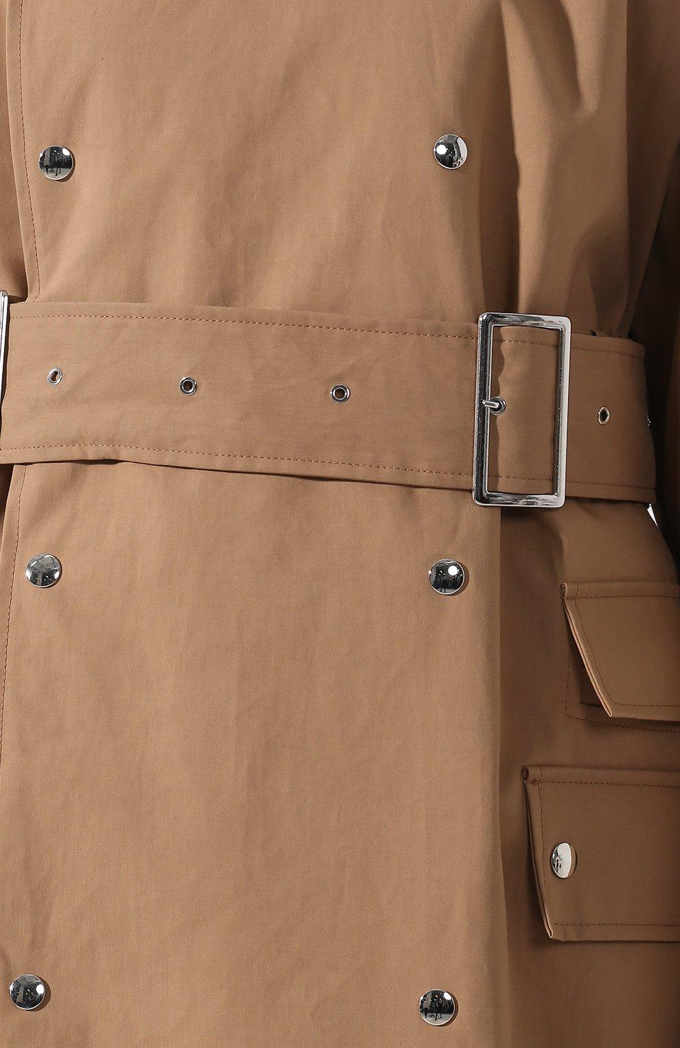 Хлопковое пальто с поясом Acne Studios коричневого цвета | Фото №5