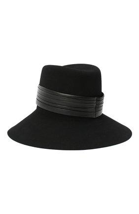 Женская фетровая шляпа с кожаной лентой SAINT LAURENT черного цвета, арт. 542391/3YB40 | Фото 2