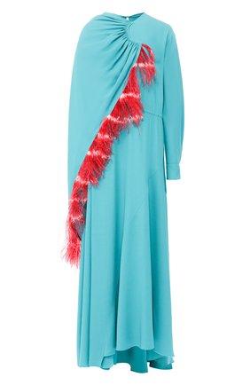 Платье-миди асимметричного кроя с перьевой отделкой | Фото №1