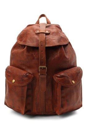 Мужской кожаный рюкзак с двумя внешними карманами RRL коричневого цвета, арт. 417609747 | Фото 1