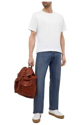 Мужской кожаный рюкзак с двумя внешними карманами RRL коричневого цвета, арт. 417609747 | Фото 2