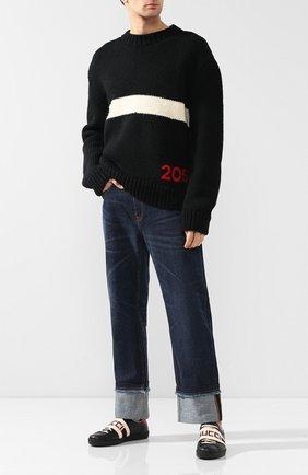 Мужские кожаные кеды GUCCI черного цвета, арт. 523469/0FIV0 | Фото 2