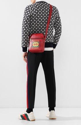 Мужская кожаная сумка-планшетс логотипом бренда GUCCI красного цвета, арт. 523591/0QSAT   Фото 2