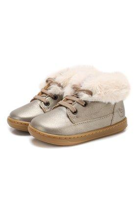 Кожаные ботинки на шнуровке с отделкой | Фото №1