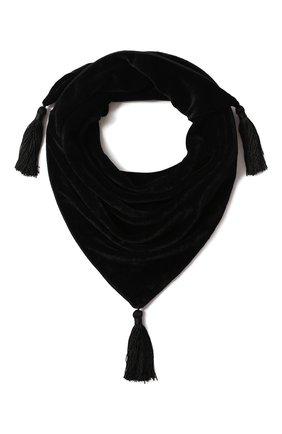 Бархатный шарф с кисточками | Фото №1
