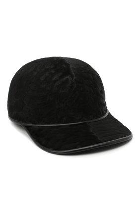 Мужской меховая бейсболка KUSSENKOVV черного цвета, арт. 387100002001 | Фото 1