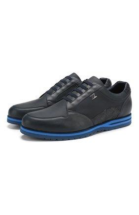 Кожаные кроссовки на шнуровке с отделкой из кожи каймана   Фото №1