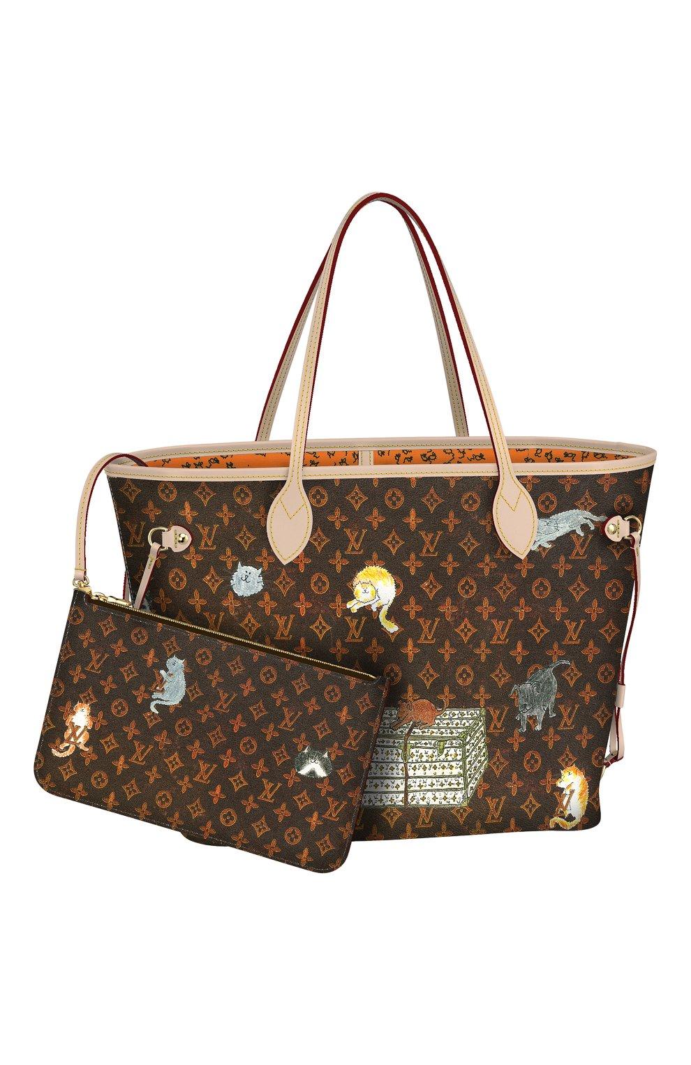 ab6742e1b733 Сумка Neverfull MM с принтом Catogram Louis Vuitton коричневая цвета | Фото  №1