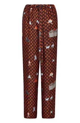 Шелковые брюки с принтом Catogram | Фото №1