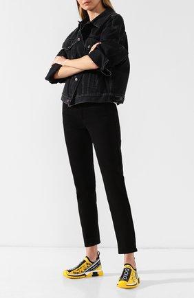 Женские текстильные кроссовки sorrento с принтом DOLCE & GABBANA желтого цвета, арт. CK1595/AV248 | Фото 2