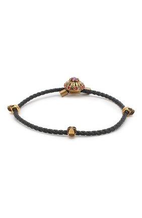 Плетеный кожаный браслет с отделкой кристаллами Swarovski   Фото №2