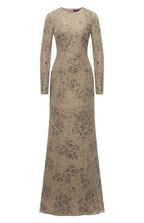 Женское платье-макси c кружевной отделкой RALPH LAUREN золотого цвета, арт. 290727222 | Фото 1