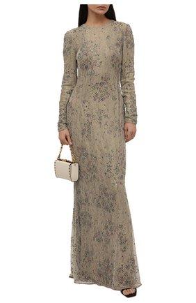 Женское платье-макси c кружевной отделкой RALPH LAUREN золотого цвета, арт. 290727222 | Фото 2
