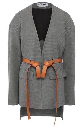 Жакет с поясом и накладными карманами | Фото №1