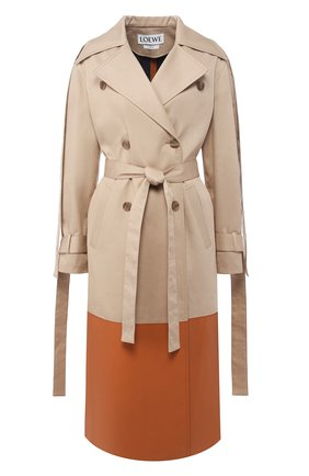 Хлопковое пальто с кожаной отделкой | Фото №1