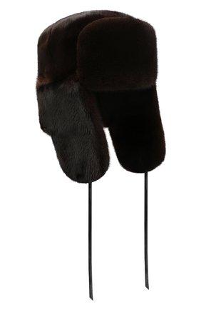 Мужская норковая шапка-ушанка FURLAND коричневого цвета, арт. 0012200110034300146   Фото 1