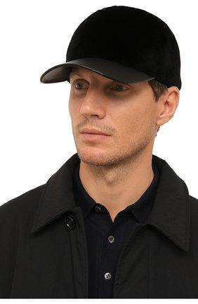 Мужской норковая бейсболка KUSSENKOVV черного цвета, арт. 381518502140 | Фото 2