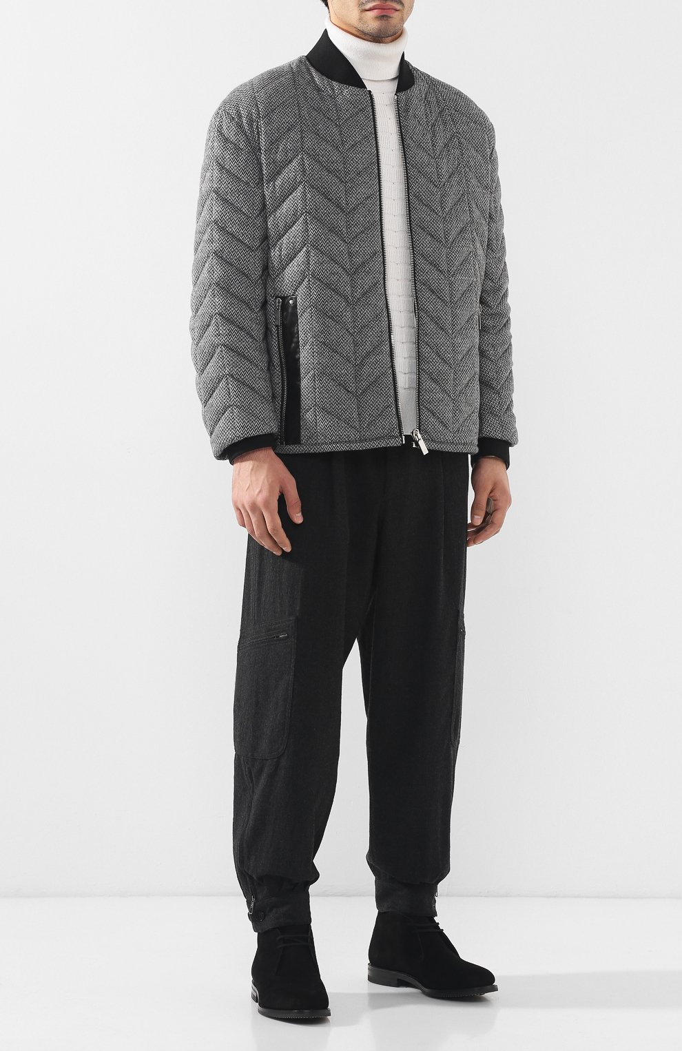 Шерстяные брюки-карго Giorgio Armani темно-серые | Фото №2