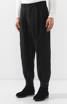 Шерстяные брюки-карго Giorgio Armani темно-серые | Фото №3